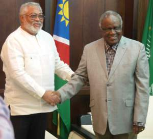 President Pohamba welcomes President Rawlings
