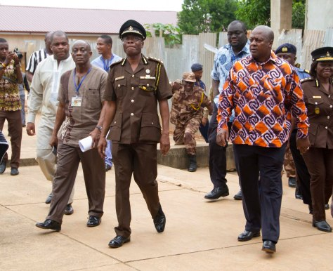 Finance Minister with HE John Dramani Mahama on historic presidential visit to Nsawam Priosn