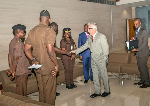 Members of the Prisons Council meeting with former U.S. Ambassador to Ghana Gene A. Cretz